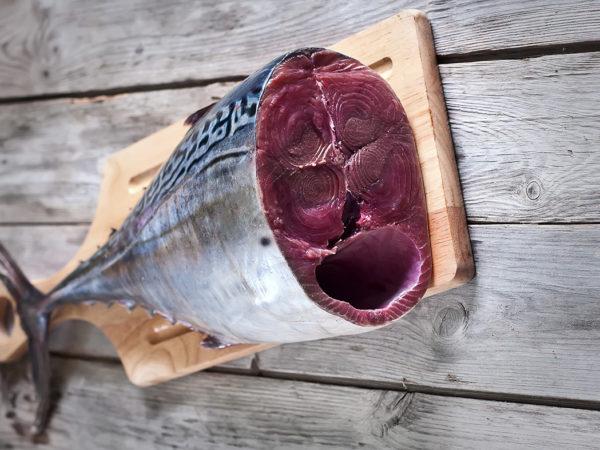 Fresh raw tuna tail on wooden board. Selective focus.